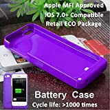 2200mAh For iPhone 5 5s Purple External Battery Backup Charging Bank Power Case