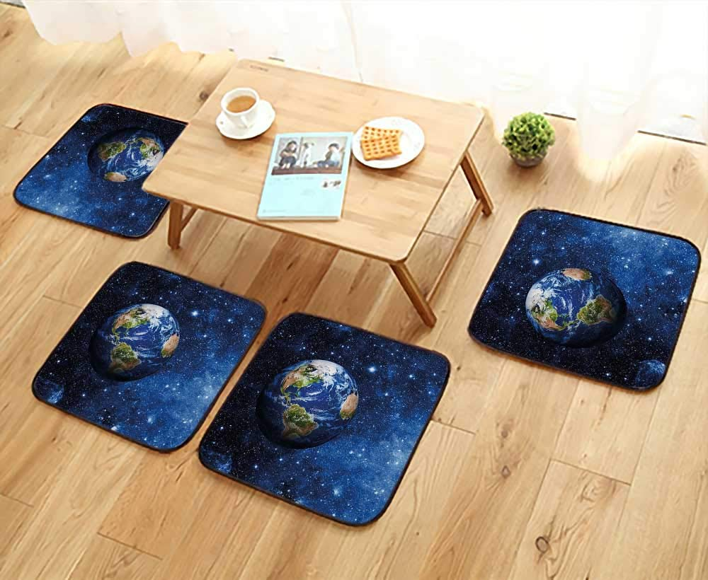 Printsonne Luxurious Household Cushions Chairs PlanEarth in Solar System with Stars Life Glo Themed Soft and Comfortable W31.5 x L31.5/4PCS Set