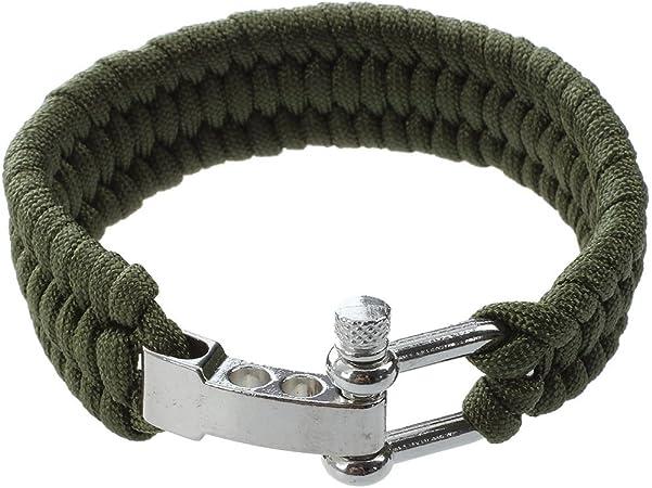 SODIAL(R) Cuerda de paracaidas Pulsera de supervivencia con clips de metal color verde de ejercito Nuevo diseno