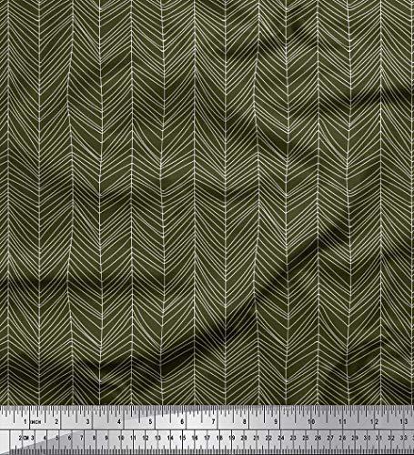 Soimoi Green Heavy Satin Fabric Stripe & Chevron Geometric Print Fabric by The Yard 54 Inch Wide ()
