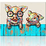 Visual Art Decor Cartoon Animal Canvas Wall Art Funky Pigs Digital Painting Prints with Frame Ready to Hang Modern Picture for Kid's Room Home Wall Decoration (16''x20'')