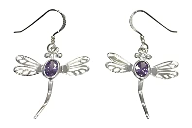 Sterling Silver Vintage Birthstone Dragonfly Necklace - Alexandrite Cubic Zirconia, June