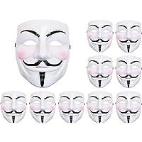 Lot de 10 Masque V vendetta Anonymous anonyme horreur diable fantôme déguisement HALLOWEEN COSPLAY (Alsino Mas-05 ) a sangle élastique, facile à porter et convenable pour adultes et ados