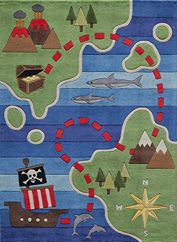 Momeni Rugs LMOJULMJ25MTI5070 Lil' Mo Whimsy Collection, Kids Themed Hand Carved & Tufted Area Rug, 5' x 7', Treasure Map Green & Blue