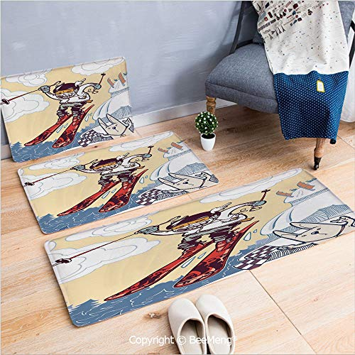 3 Piece Anti-Skid mat for Bathroom Rug Dining Room Home Bedroom,Kids Decor,Cute Boy Skier Sliding Down and Jumping from The Snow Cliffs with Dog Graphic Decorative,Multicolor,16x24/18x53/20x59 inch