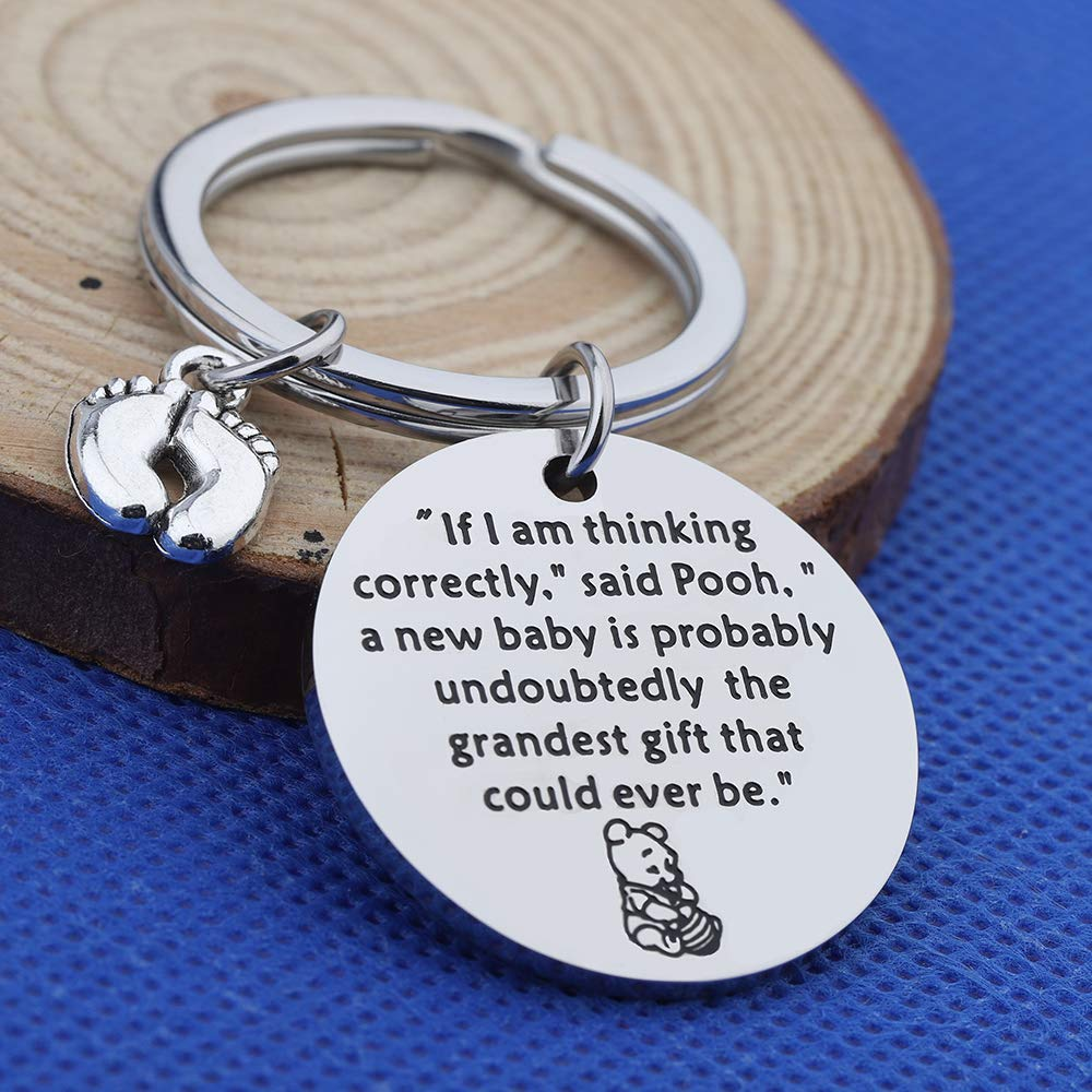 FOTAP New Baby Gift Winnie The Pooh Quotes Gift A New Baby is Probably Undoubtedly The Grandest Gift That Could Ever Be Keychain for New Mom