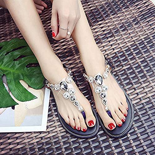 Flip Thongs Sandals Flops Flat Black T on Bohemia Diamond Strap Dress Strappy Women Shoes Slip Elastic qCHwvt1E