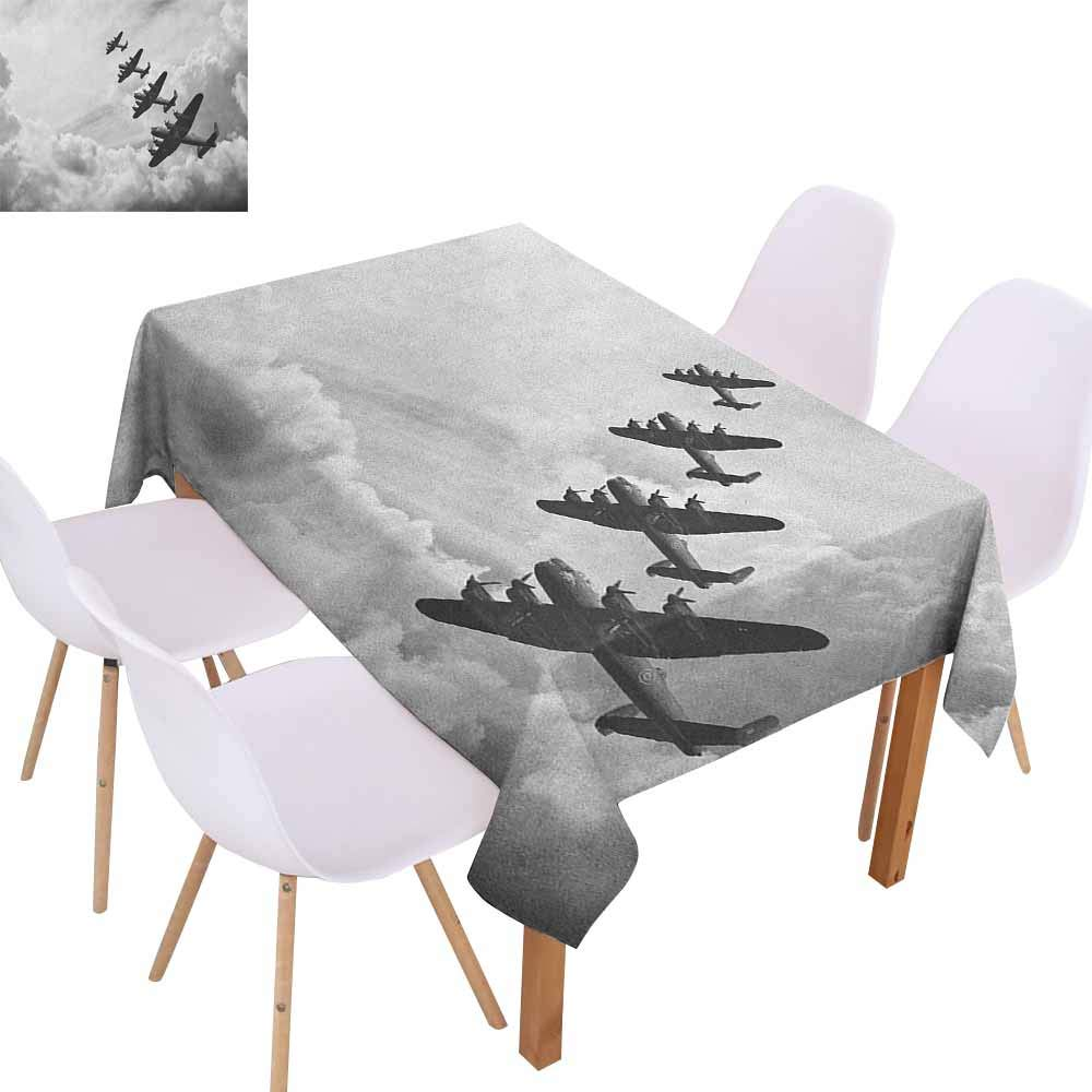 Marilec Waterproof Tablecloth Airplane Retro Image of Lancaster Bomber Jets from Battle Royal Air Force in Clouds Plane Washable Tablecloth W60 xL84 Black White Great for Buffet Table by Marilec