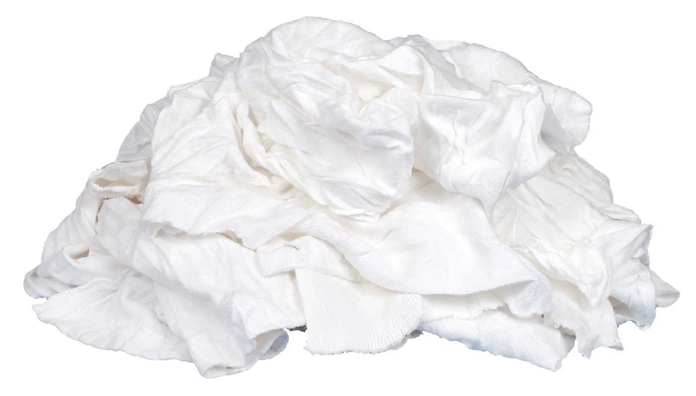 Buffalo Industries (10525) White Recycled T-Shirt Cloth Rags - 50 lb. box by Buffalo Industries
