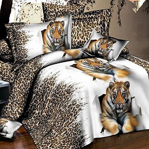 5D leopard print 3D BEDDING Bed Sheets Textile Cover Pillow Set Rose 4PCs Red sz