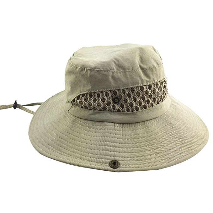 ... Los Aire Estilo único Sombrero De Vaquero Sombrero De Sol Chinstrap Sombrero De Safari Sombrero De Moda Transpirable Al Aire Libre Beanie Gorras: ...