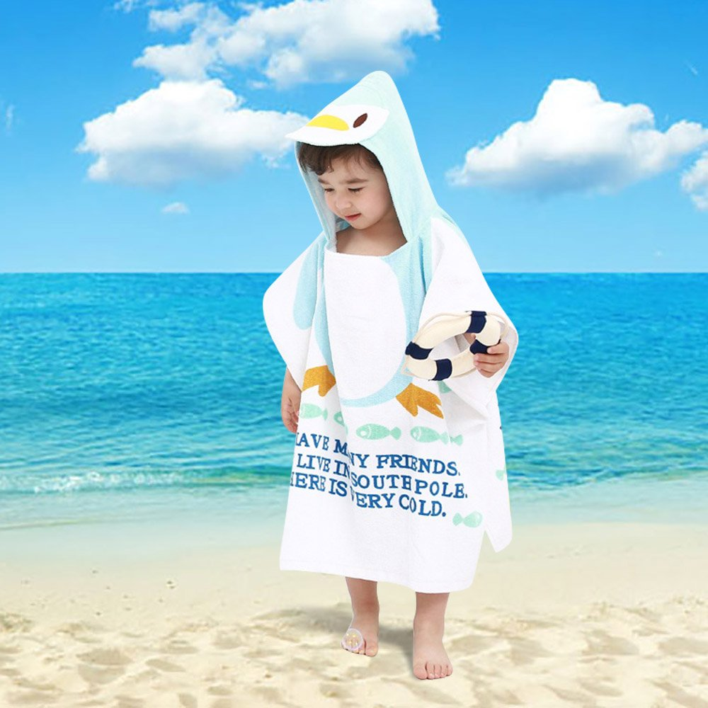 Bébé Peignoir, Sortie de Bain pour Nouveauté, avec Motif Animal Animé, comme Serviette (Anges) Petit Wudong