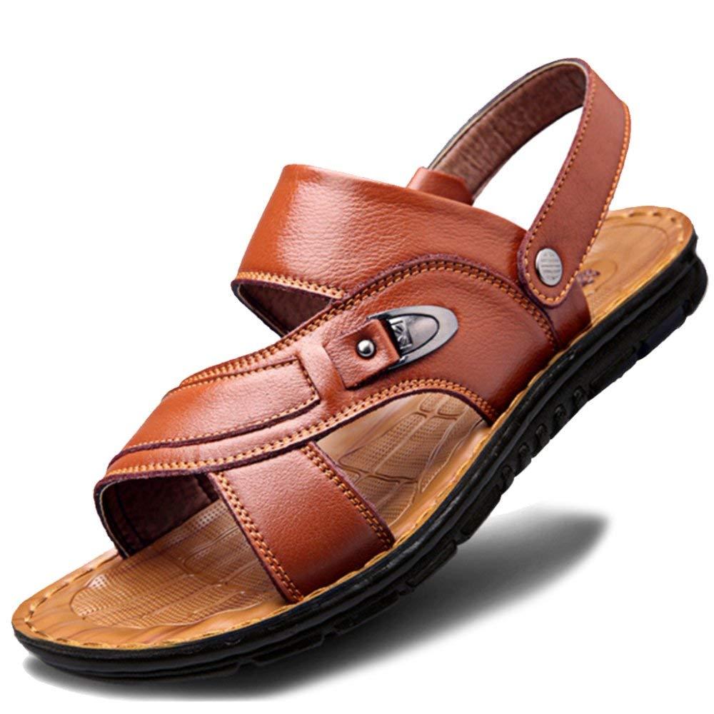 L-T Extra Large Taille Ouvert Toe Slip sur la Plage Sandales des Hommes en Cuir Véritable Athlétique Sandale Piscine Pantoufles pour Randonnée, Jaune, 38 UE