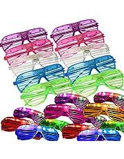 نظارات ليد المتوهجة في الظلام لوازم حفلات عيد الفصح للأطفال عبوة من 24 قطعة من النظارات المضيئة البلاستيكية القابلة للتبديل من 3 مصابيح وميض بطارية مناسبة لحفلات أعياد الميلاد