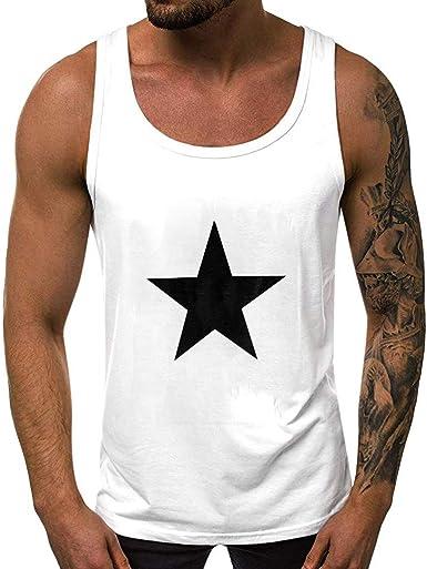 Psunrise - Camiseta sin Mangas para Hombre, diseño de Pentagrama - Negro - X-Large: Amazon.es: Ropa y accesorios