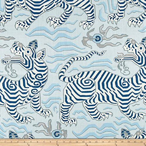 Clarence House Tibet Print 100% Linen Pale Blue by Clarence House (Image #1)