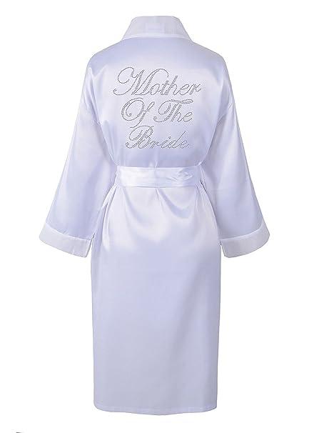 Amazon.com: Varsany Wedding Day Rhinestone Satin White Mother Of The ...