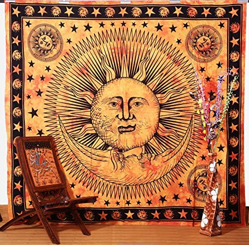 Psychedelic Celestial Sun Moon Stars Tie Dye Tapestry, Good Morning Tapestry, Celestial Tapestry, Indian Wall Hanging Tapestry, Hippie Tapestries Wall Decor Art….. orange