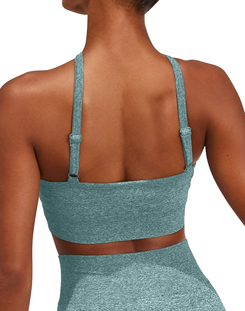 HYZ Womens Seamless Workout Gym Crop Top Adjustable Straps Sports Bra with Removable Padded