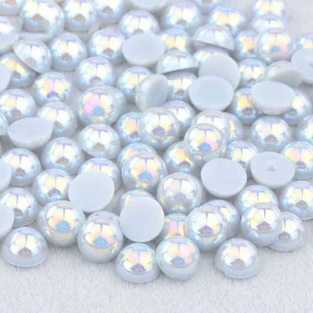 2 4 6 8 10 12 14 mm plata oro mitad redondo perlas de imitación imitación medias cuentas de diamantes de imitación decoración Strass pegatinas, gris AB, 12 mm, 50 unidades
