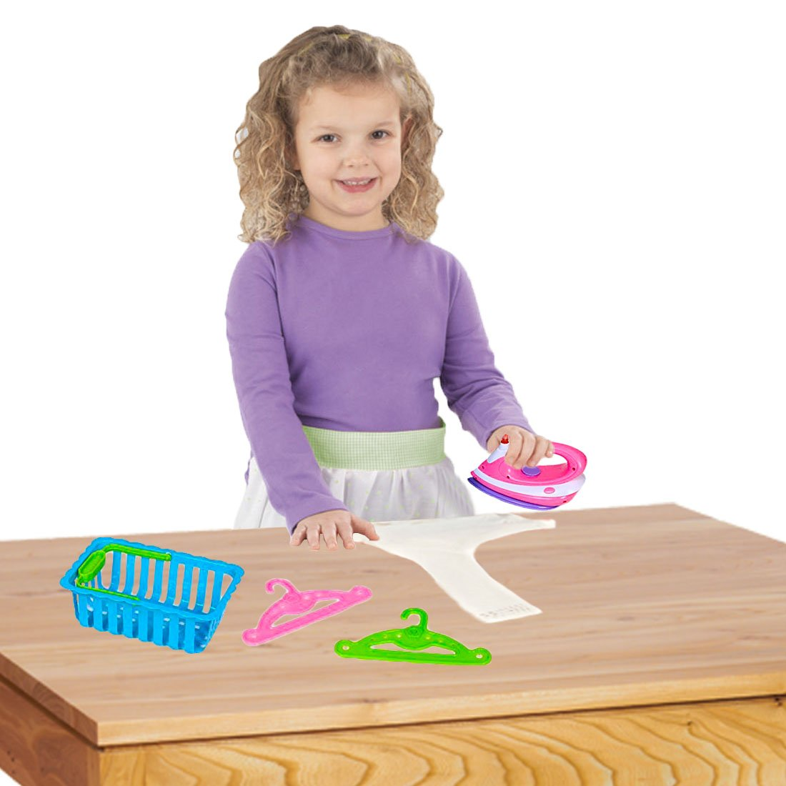 Dazzling Toys Toy Iron Set | Happy Family Kids Pretend Play Ironing Set Includes Ironer, Laundry Basket, and Accessories. by Dazzling Toys