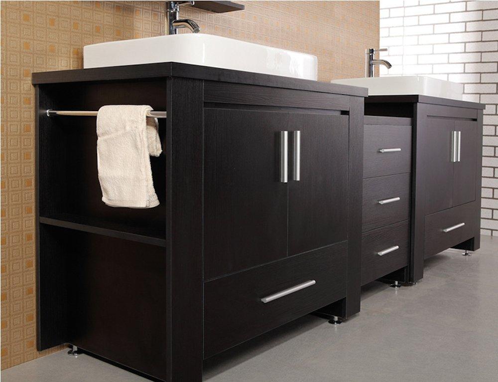 Design Element Washington Double DropIn Vessel Sink Vanity Set - 96 bathroom vanity cabinets for bathroom decor ideas