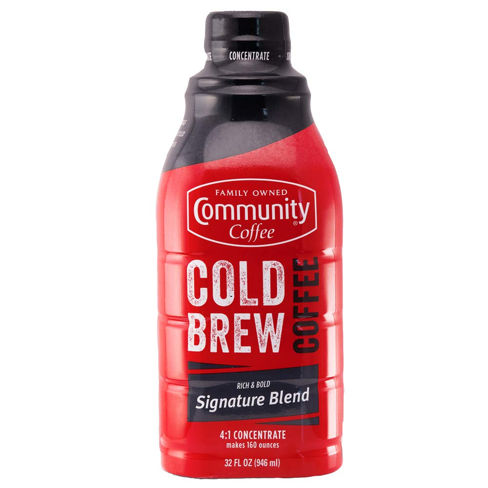 Community Coffee - Cold Brew Coffee Concentrate - Signature Blend Dark Roast - 32 fl. oz. Bottle - 4: 1 Concentrate