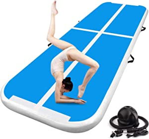 FBSPORT 13ft/16ft/20ft/23ft/26ft Inflatable Air Gymnastics Mat Training Mats 4/8 inches Thickness Gymnastics Tracks for Home Use/Training/Cheerleading/Yoga/Water with Pump