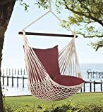 Outdoor Hanging Rope Hammock Swing Chair with Set of 2 Polyester Pillows, 37 W x 60 H (Seat to Hanger) - Forest Green
