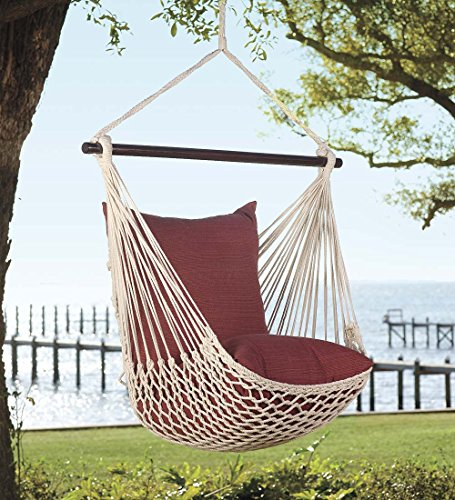 Plow & Hearth Outdoor Hanging Rope Hammock Swing Chair with Set of 2 Polyester Pillows, 37 W x 60 H (Seat to Hanger) - Aqua (Hearth Strings)
