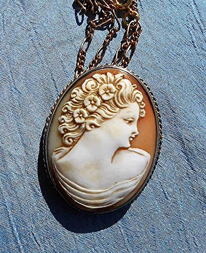Antique Vermeil Gold Wash Silver Cameo LARGE 1 3/4