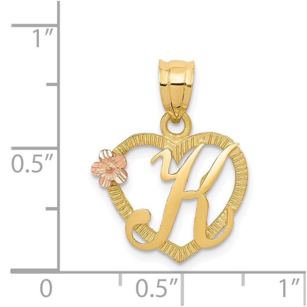 22mm x 16mm Mia Diamonds 14k Solid Yellow Gold Two-Tone initial Kin Heart Charm