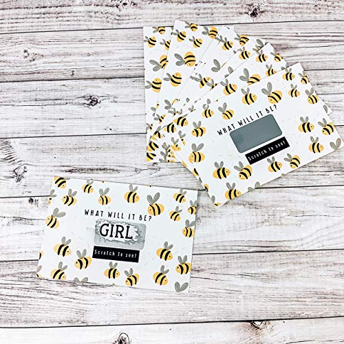 Bee Themed Gender Reveal Scratch Off Cards Party Supplies Baby Shower It's a Girl - Set of 12 -