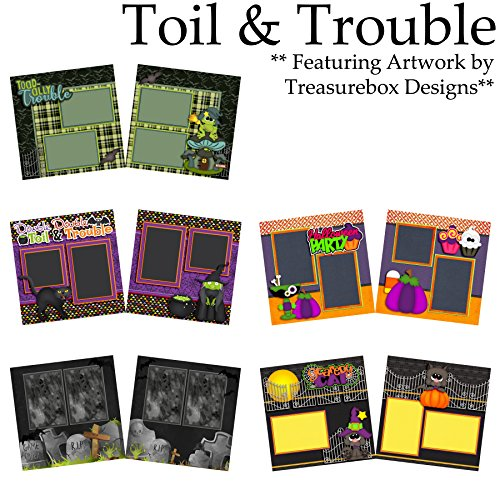 TOIL & TROUBLE Scrapbook Set - 5 Double Page Layouts