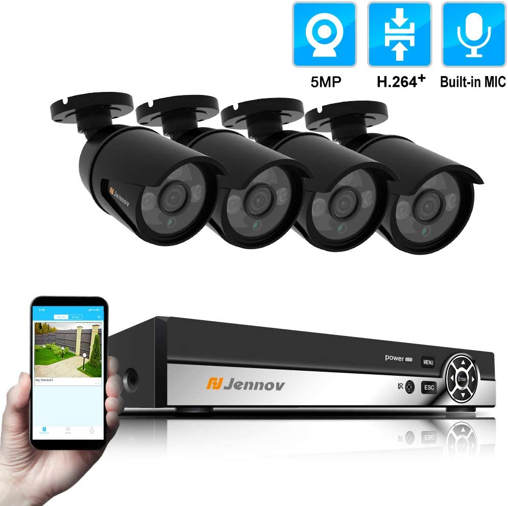 Jennov 4-Channel 5MP POE Home Security Camera System 4pcs Wired 5MP Outdoor POE Power Over Ethernet IP Cameras with Audio Recording, 5MP 4-Channel POE NVR Security System not Including HDD