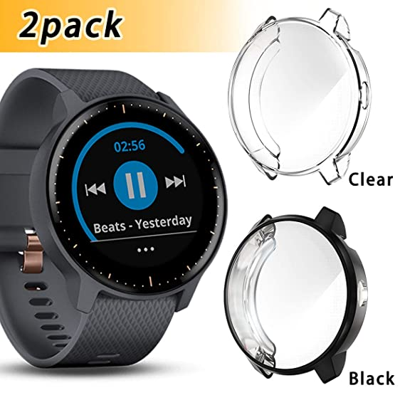 2 Pack Haojavo Compatible with Garmin Vivoactive 3 Music Screen Protector Case, Soft Plated TPU Scratch-Proof Full Protective Protector Case Cover for ...