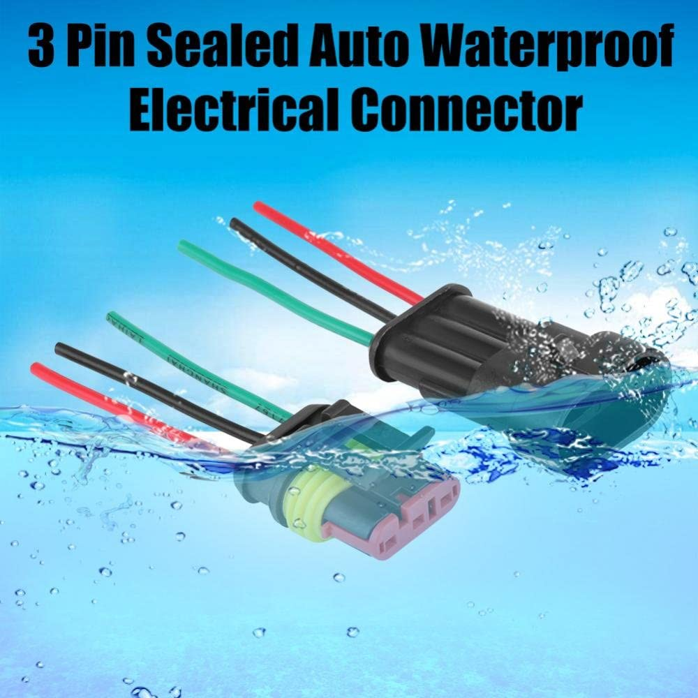 5 Sets Car 3 Pin Way Sealed Auto Waterproof Electrical Connector Plug Socket Kit Yctze 3 Pin Connector