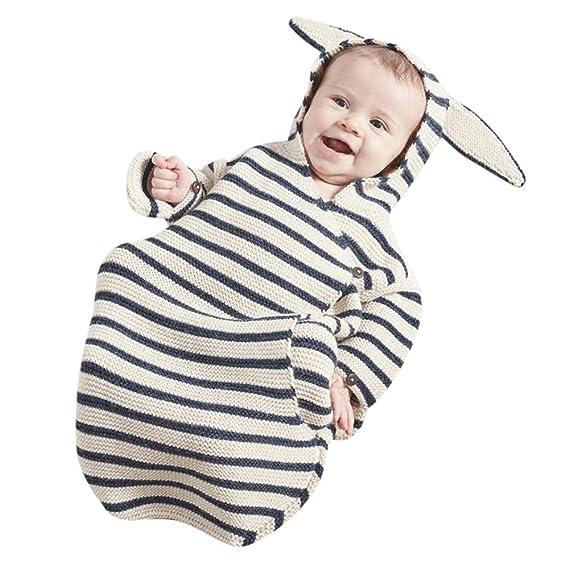 Mitlfuny Saco de Dormir para Bebé Niños Invierno Manto con Capucha Recién Nacido Punto de Ganchillo Manta Envolver Rayas Blancas y Negras Orejas de Conejo ...