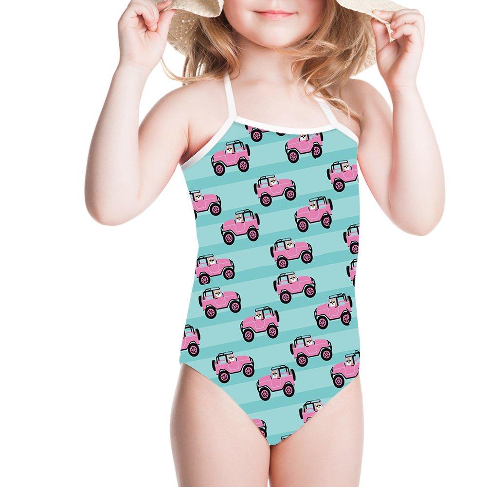 Ertyz Corgi Car Girl Swimwear Stripped One Piece Swimsuit Plus Size Surf-wear