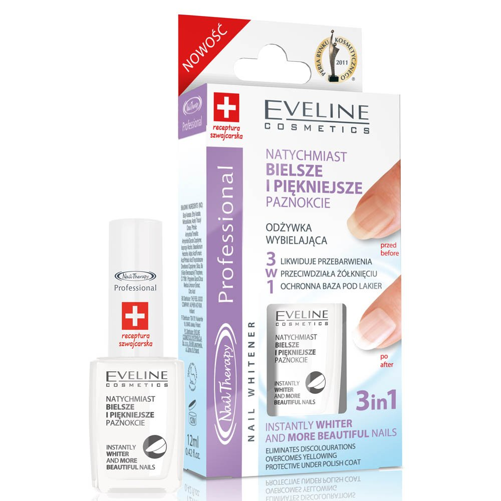 EVELINE Cosmetics Nail Therapy Nail Whitener 3in1 Whitening Conditioner against Discolourations 12ml