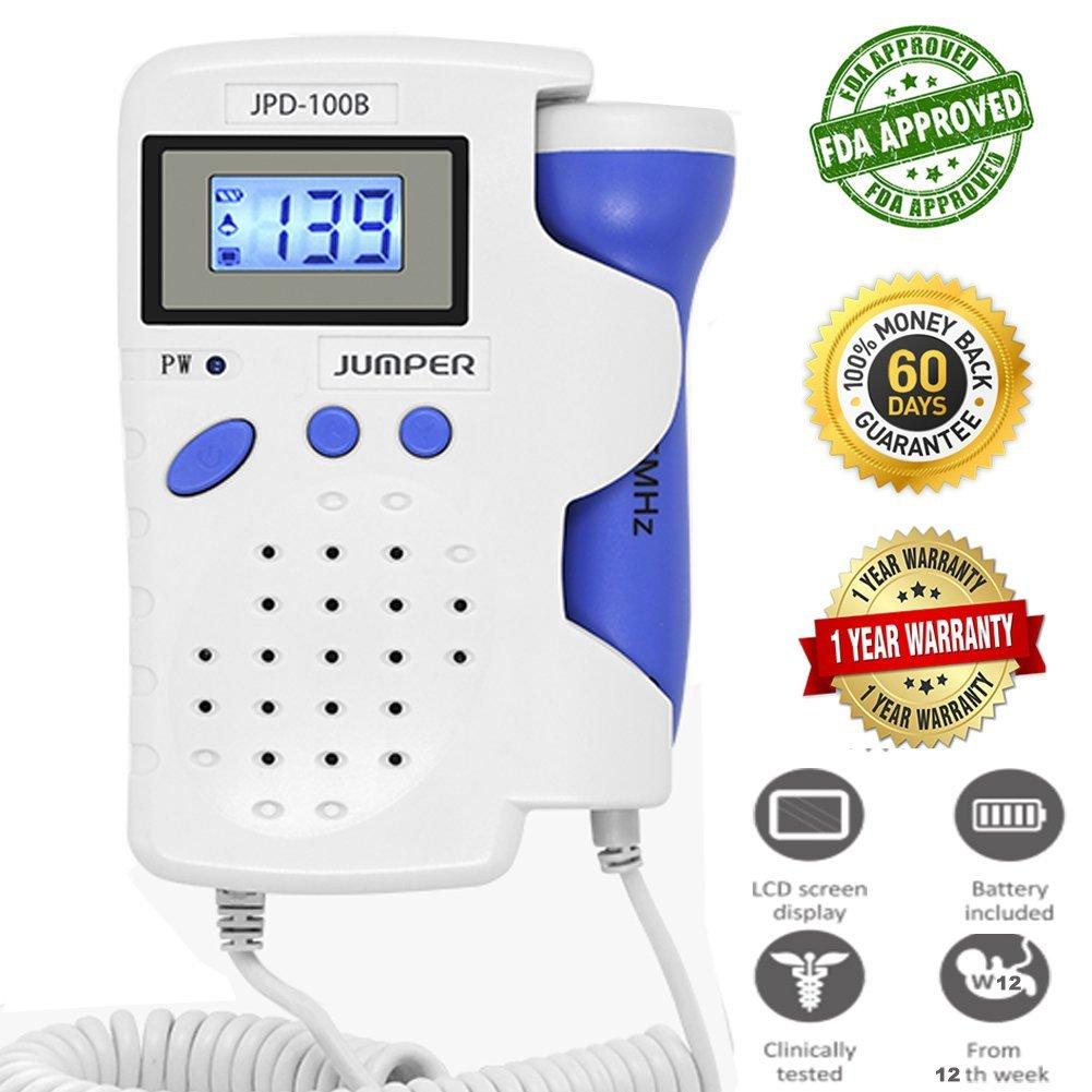 Jumper JPD-100B Approuvé par la FDA, Doppler Fœtal Bébé Battement de Coeur Moniteur, Entendre la Voix du Bébé dans L'utérus