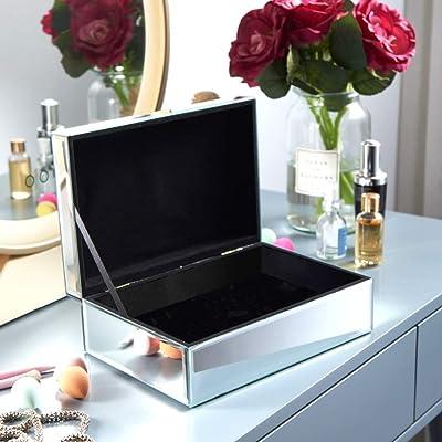 Mothers Day Luxury Silver Diamante Mirrored Glass Jewellery Box Trinket Box