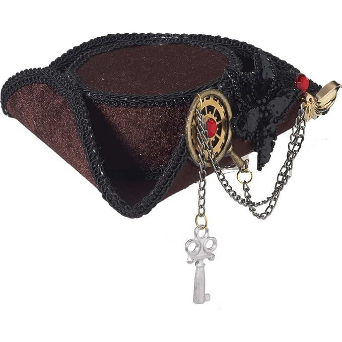 e0d4d286 Amazon.com: Forum Novelties Mini Steampunk Pirate Hat with Gears White:  Clothing