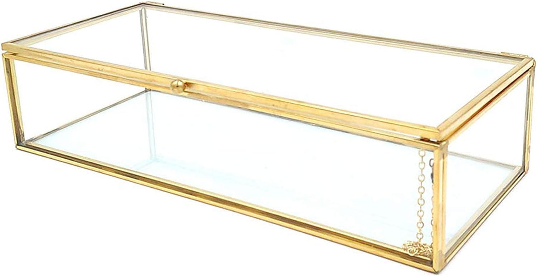 Schneespitze Caja Envase Geométrico,Organizador De CosméTicos,Planta Suculento Terrario Transparente Terrario Geométrico Multifunción,Joyero De Cristal Dorado