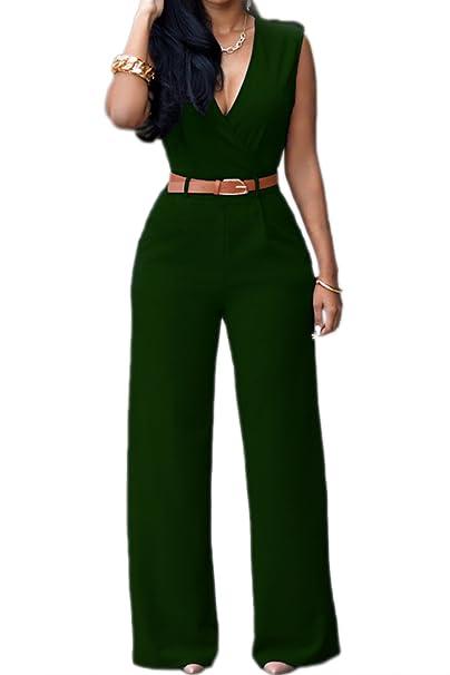 995b6591259a Zonsaoja Women Elegant Jumpsuit Summer Sleeveless Wide Leg Long Rompers   Amazon.ca  Clothing   Accessories