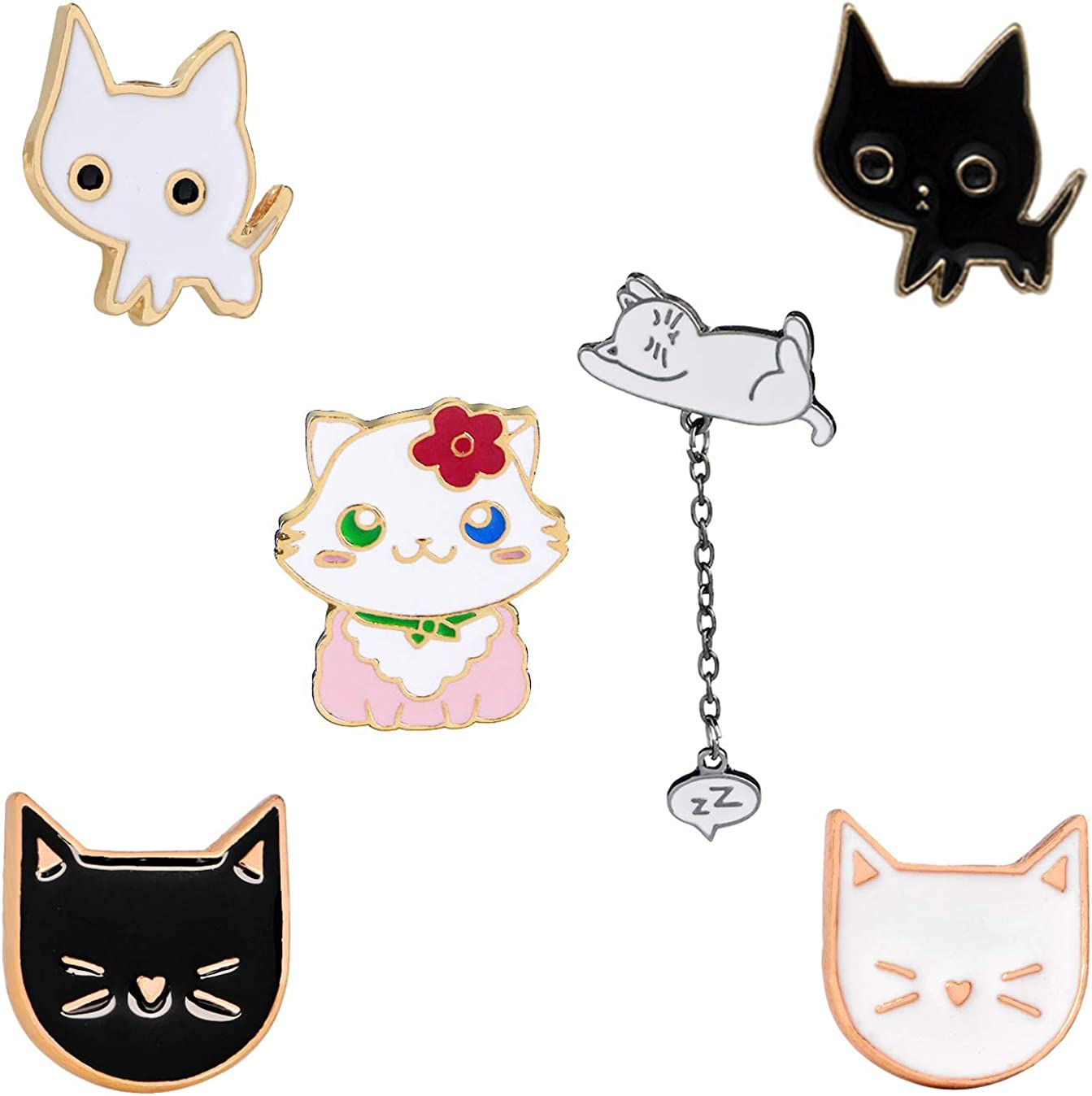 KimYoung Cute Enamel Lapel Pin Sets Carton Animal Brooch Pin (Cat Pin)