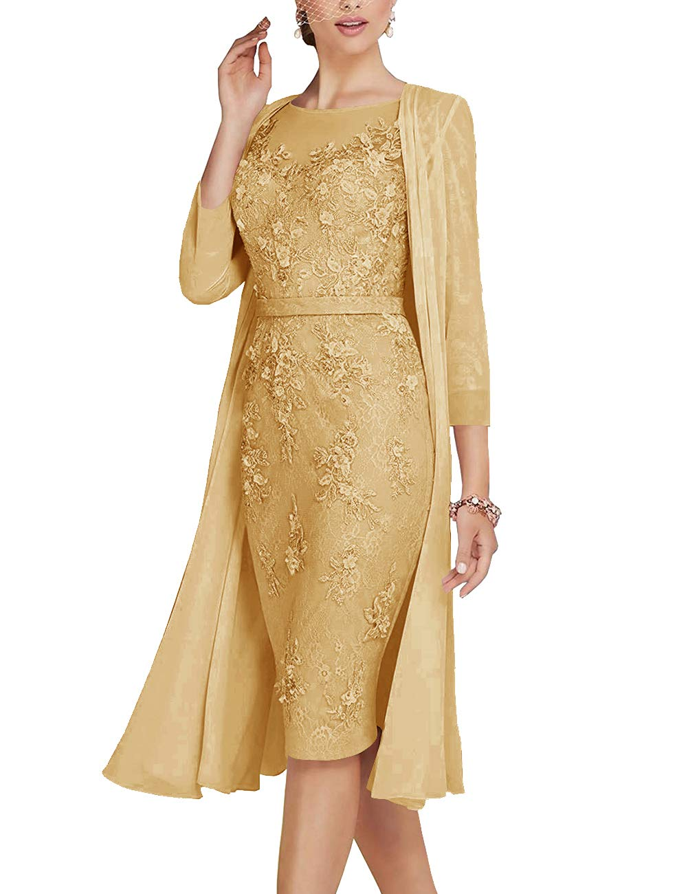 Mother of The Bride Dress Sheath Mother Dress Lace Formal Dresses Chiffon Jacket