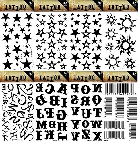 Wonbeauty 8pcs different Fake and real temp tattoo stickers in a package, it including 26 English letters and barcode,stars,suns,tattoo stickers
