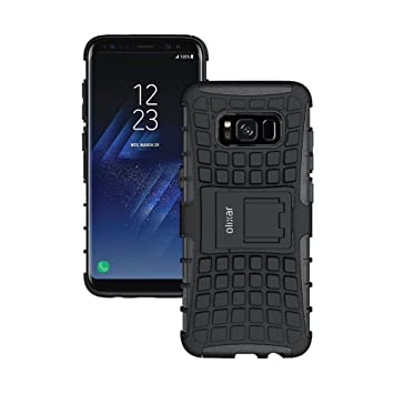 half off 3bcd0 5068d Olixar Samsung Galaxy S8 Plus Protective Case - Heavy Duty Tough Armour -  Built In Kickstand ArmourDillo – Wireless Charging Compatible - Black