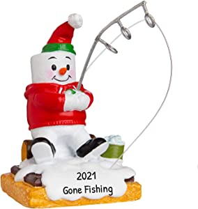 Personalized Marshmallow Ice Fisherman Christmas Tree Ornament 2020 - Snow-Man Gone Cold Arctic Winter Pole Line Hobby Profession S'Mores Holiday Activity Year Little Tradition - Free Customization